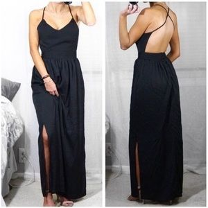 Black Maxi with Criss Cross Back